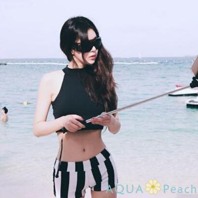短版後背字母+條紋小褲兩件式泳衣(黑色)-AQUA Peach