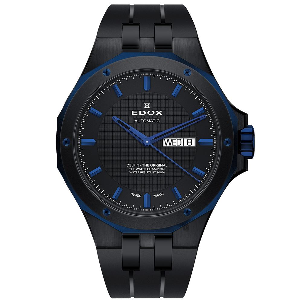 EDOX Delfin 海豚系列 專業200米日曆機械錶-鍍黑/43mm