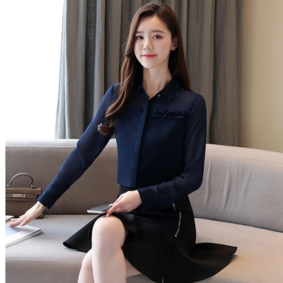 2F韓衣-韓系荷葉邊造型雪紡上衣-2色(S-2L)