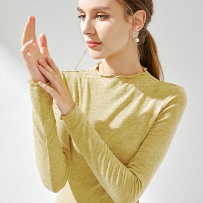 專注內搭-針織內搭圓領長袖T恤滾邊緊身上衣(四色S-3XL可選)