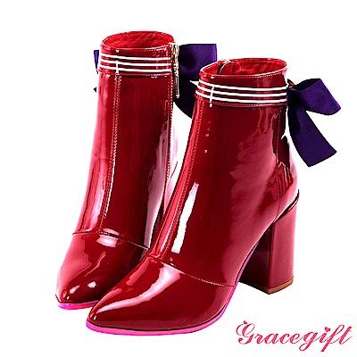 Grace gift-美少女戰士漆皮水手蝴蝶結短靴 酒紅
