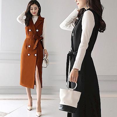 雙排扣收腰開衩兩件式連身長裙M-2XL(共三色)-SZ