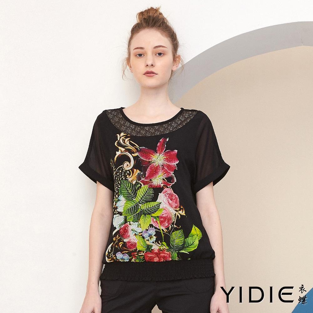 【YIDIE衣蝶】藝術水鑽花蕾絲拼接上衣
