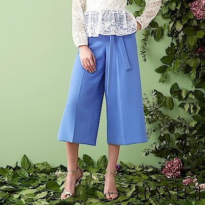 JESSICA - 簡約立體車線設計寬褲(藍)