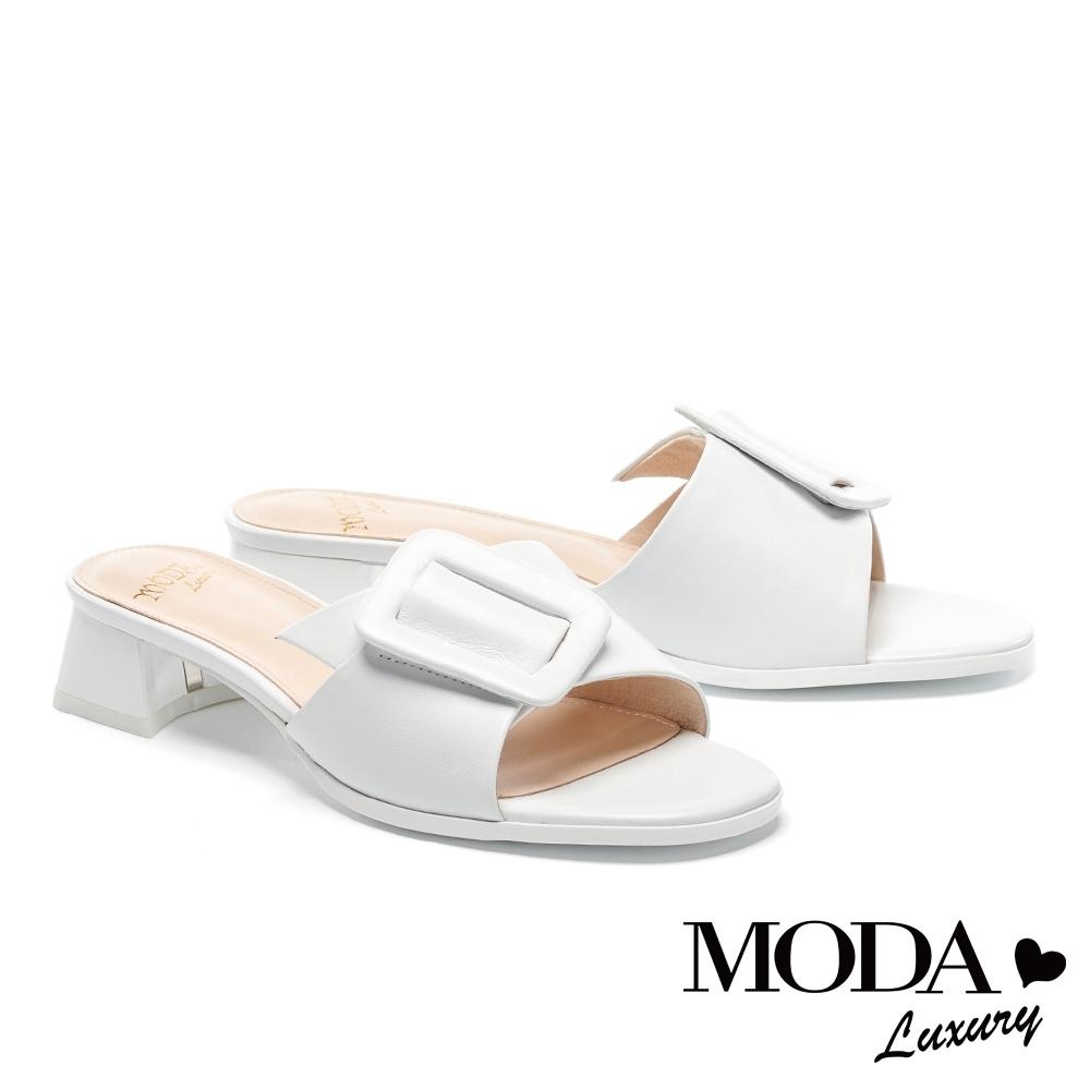 拖鞋 MODA Luxury 簡約質感大方斜釦羊皮低跟拖鞋-白