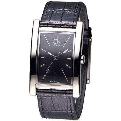 CK 方形款品味時尚玩家男錶-黑(K4P211C1)/30*36mm