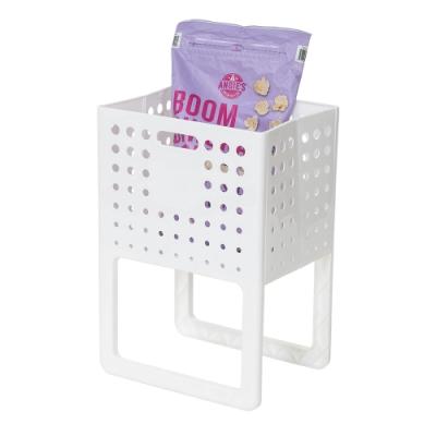 樂嫚妮 多功能可提折疊收納籃/置物籃/洗衣籃-白