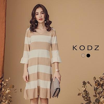 東京著衣-KODZ 優雅赫本寬條圓領針織洋裝-S.M.L(共二色)