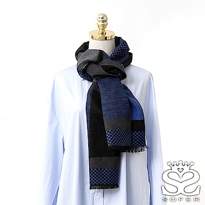 SOFER撞色拼接100%蠶絲圍巾-藍
