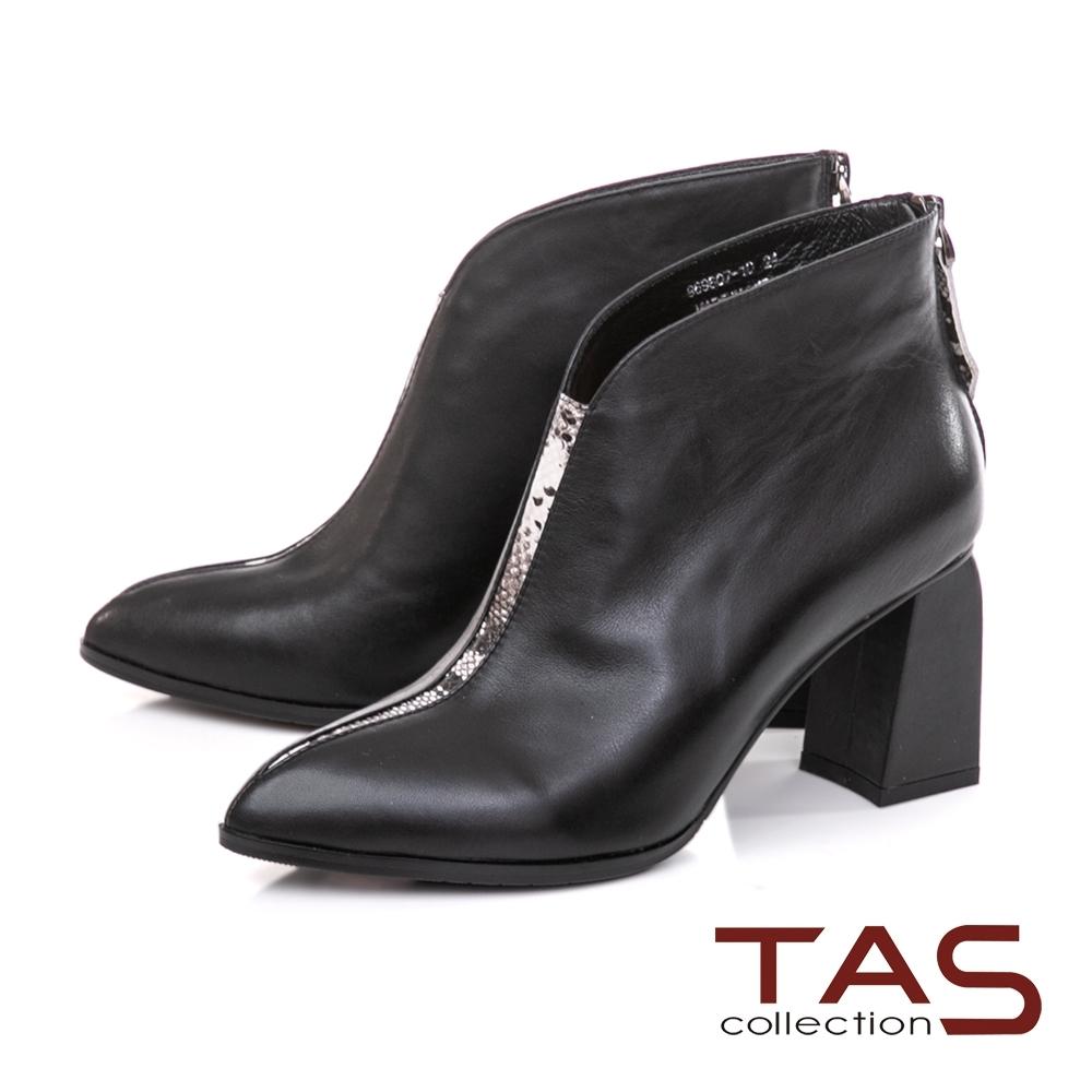 TAS素面牛皮拼接蛇紋皮後拉鍊粗跟短靴-實搭黑