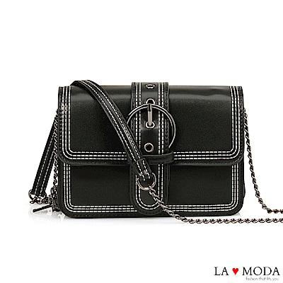 La Moda 質感經典熱銷大釦百搭鍊條方包(黑)
