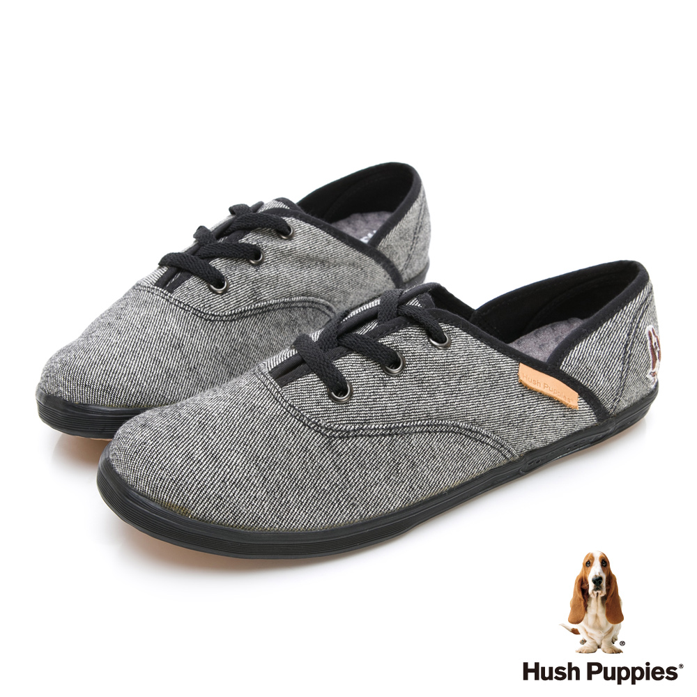 Hush Puppies 單寧風潮咖啡紗帆布鞋-黑色