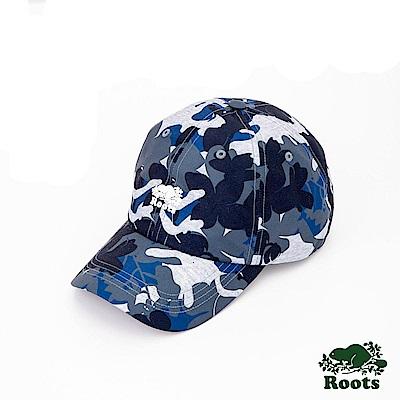 Roots配件- 海狸印花棒球帽-藍