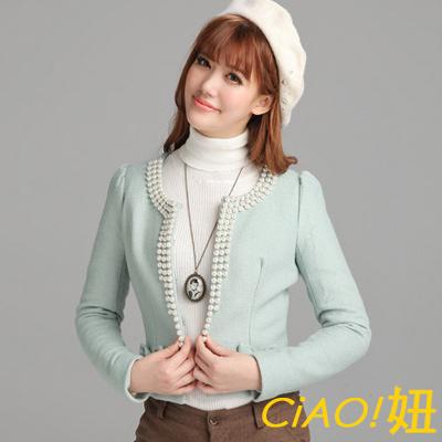 名媛淑女魅力珍珠領毛呢外套 (冰沙綠)-CIAO妞