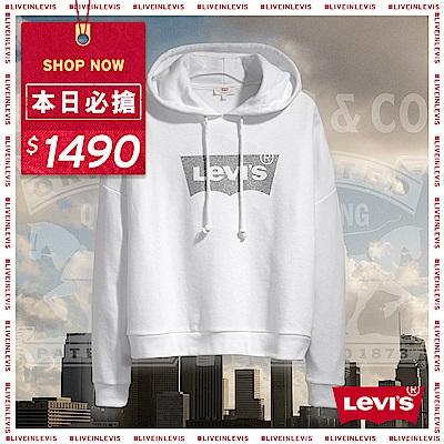 Levis 女款 帽T 質感亮粉Logo 大落肩設計