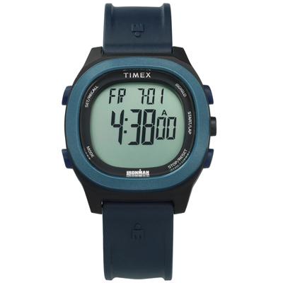 TIMEX 天美時 IRONMAN 鐵人系列 碼錶鬧鈴防水電子橡膠手錶-藍黑色/40mm