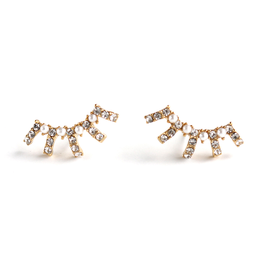 LOVERS TEMPO加拿大品牌 RADIANT珍珠水晶 扇形耳環