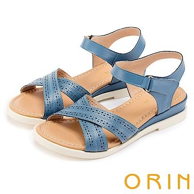 ORIN 愜意渡假風情 皮革洞洞條帶魔鬼氈厚底涼鞋-藍色