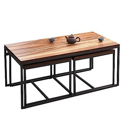 品家居 坎蒂3.3尺木紋雙色大茶几(含椅凳2入)-100x50x43cm免組