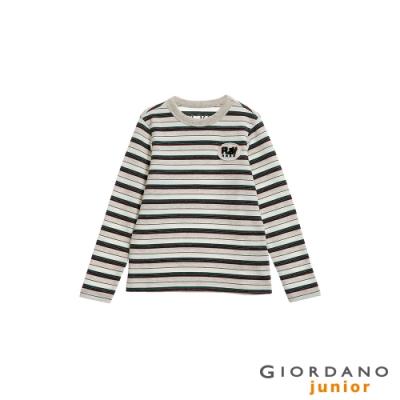 GIORDANO  童裝刺繡布章條紋長袖T恤-05 雪花晨灰 (條紋)