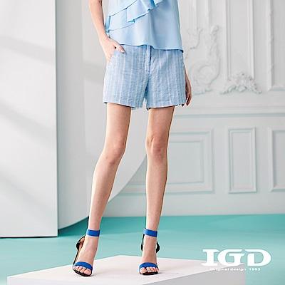 IGD英格麗 清爽藍白細條紋短褲-藍色