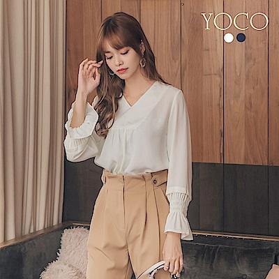 東京著衣-yoco 知性美人v領荷葉袖雪紡上衣-S.M.L(共二色)