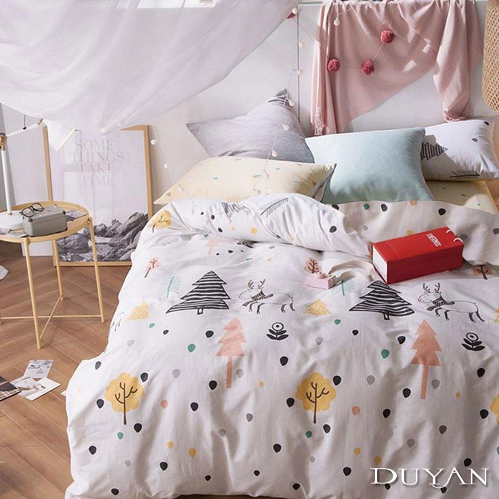 DUYAN竹漾-100%精梳棉/200織-雙人床包三件組-森林麋鹿 台灣製