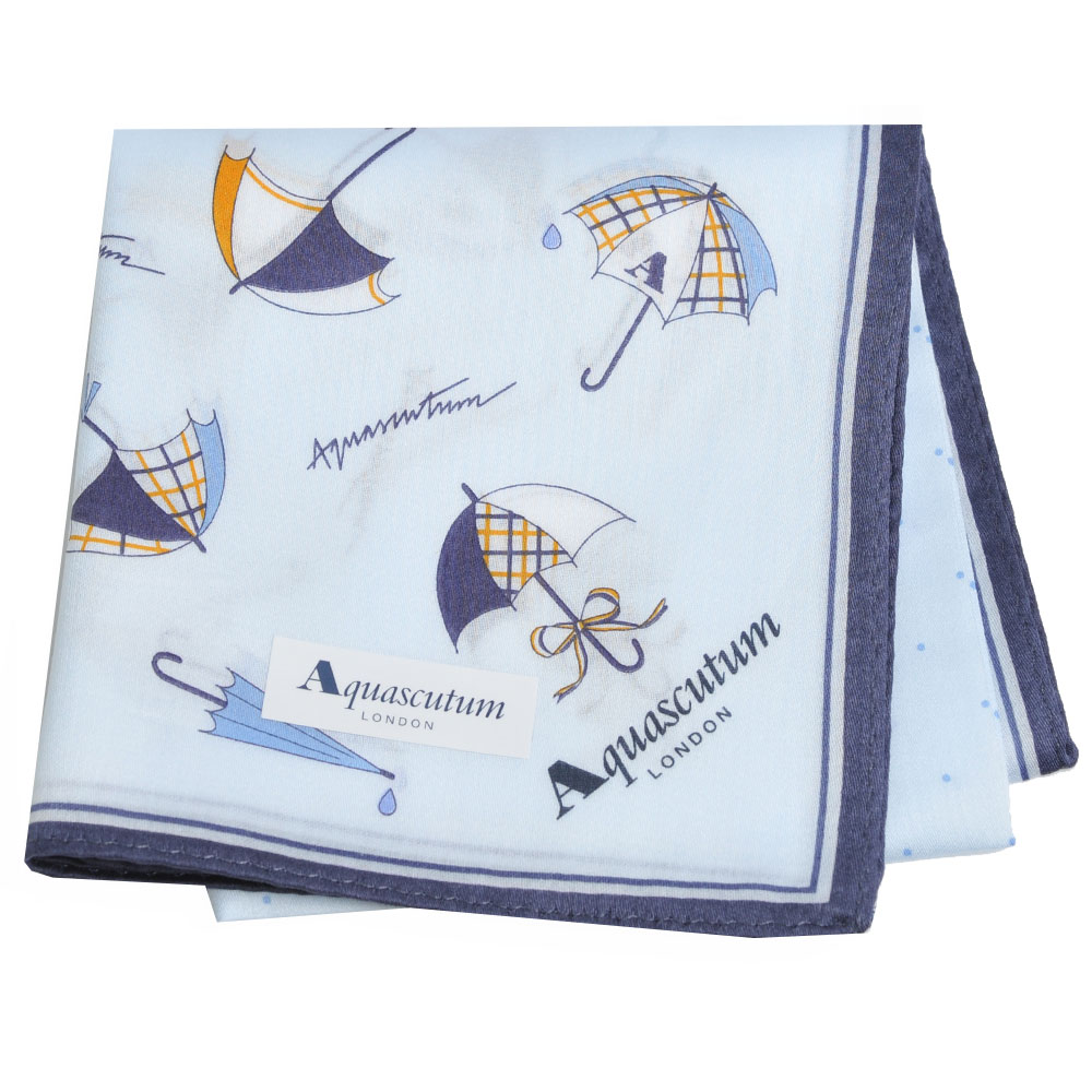 Aquascutum 風格時尚仕女品牌雨傘圖騰字母LOGO帕領巾(水藍系)