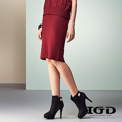 IGD英格麗 細緻針織羊毛簡約修身窄裙-酒紅