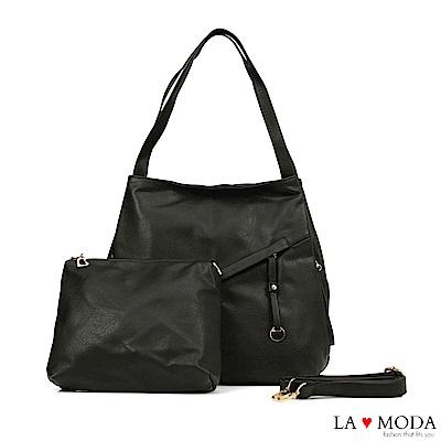 La Moda超柔軟皮質大容量肩背斜背子母包(黑)
