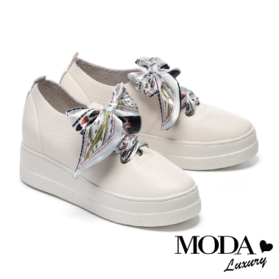 休閒鞋 MODA Luxury 法式優雅花緞布綁帶全真皮厚底休閒鞋-白