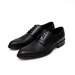 ALLEGREZZA-真皮男鞋-德比狂潮-擦色皮革素面德比鞋 格紋黑