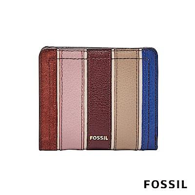 FOSSIL LOGAN 拉鍊零錢袋設計短夾-多色直條紋