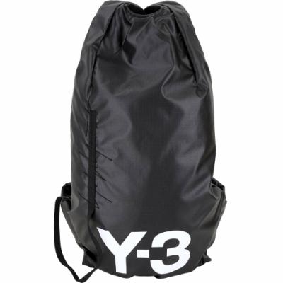 Y-3 Yohji II 品牌標誌超輕量防水尼龍後背包(黑色)