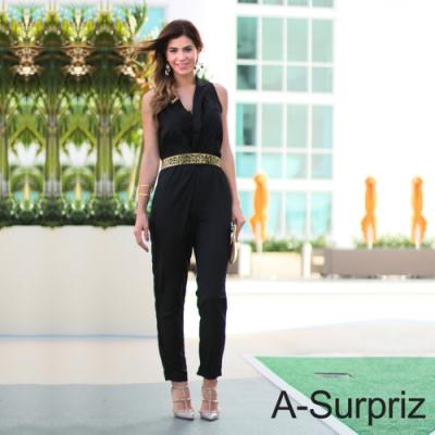A-Surpriz 摩登金屬鏡面鏤空寬版腰帶(金)