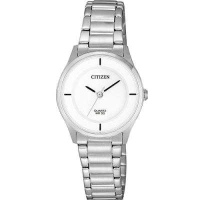 CITIZEN星辰 LADY S時尚簡約石英腕錶(ER0201-81B)白色/27mm