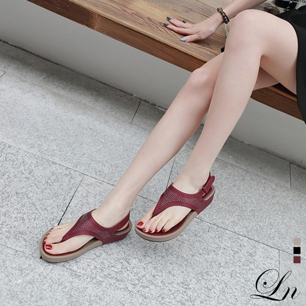 LN 現+預 水鑽波希米亞厚底舒適涼鞋-3色 (紅)