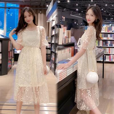 【韓國K.W.】(預購)輕快步伐透視感兩件式洋裝-2色