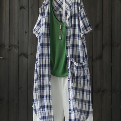 中長版純棉格子襯衫設計感小眾短袖防曬外搭-設計所在