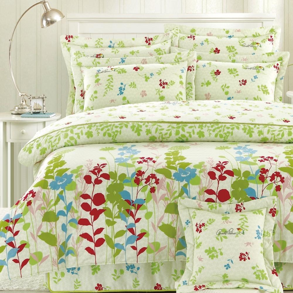 Arnold Palmer雨傘牌 鳥語花香米-台製40紗精梳棉床包枕套雙人加大三件組