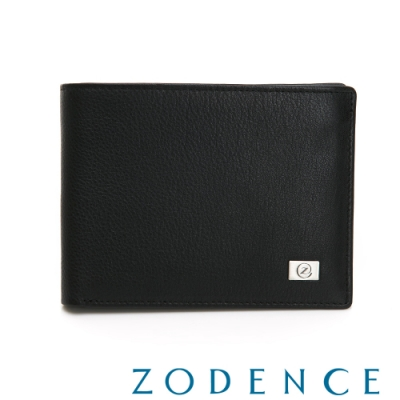 ZODENCE MAN手感系列進口牛皮隱藏式卡層10卡短夾 黑