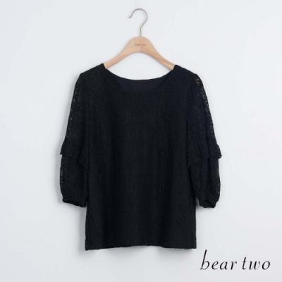 beartwo- 造型泡泡袖蕾絲圓領上衣-黑