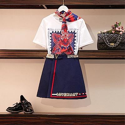 DABI 韓國復古風時尚植物紋T恤顯瘦套裝短袖裙裝
