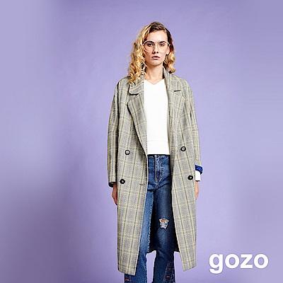 gozo 率性英倫格紋長版西裝外套(灰色)