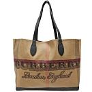 BURBERRY 格紋棉麻拼接皮邊肩背購物包(格紋)