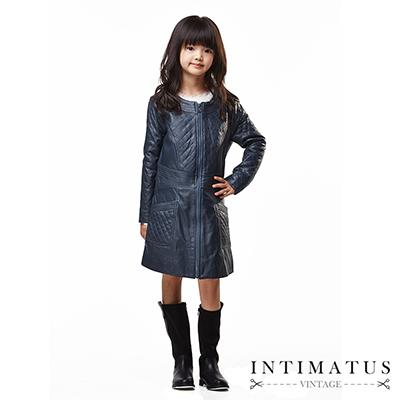 INTIMATUS 真皮 菱格拼接長版皮衣 女童裝 鐵灰色