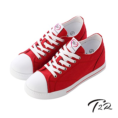 【T2R】增高7cm經典款休閒氣墊帆布鞋-紅