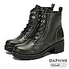 達芙妮DAPHNE 短靴-馬丁繫帶拉鍊粗跟短靴-橄欖綠