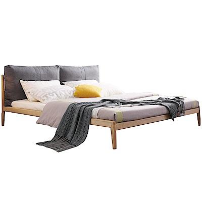 品家居 亞爾曼5尺亞麻布實木雙人床架(不含床墊)-160x213x91cm免組