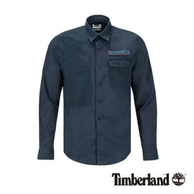 Timberland 男款地球英雄深寶藍色斜紋布長袖襯衫|A1Y7V